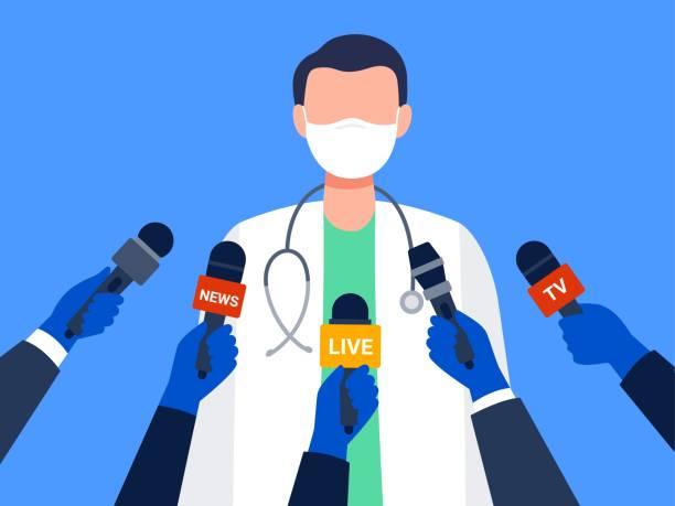 illustrations, cliparts, dessins animés et icônes de un travailleur médical masculin donnant une entrevue. - interview