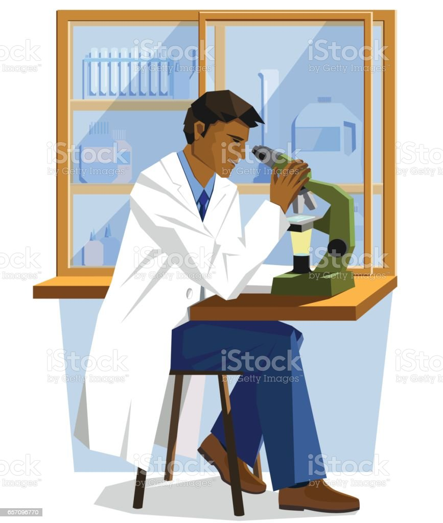 male minority scientist doctor sitting in a lab and looking into a microscope vector art illustration