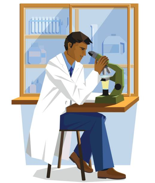 male minority scientist doctor sitting in a lab and looking into a microscope - minority stock illustrations, clip art, cartoons, & icons