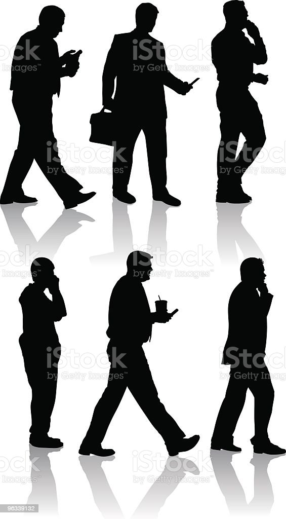 Male Mobilephone Silhouettes royalty-free stock vector art
