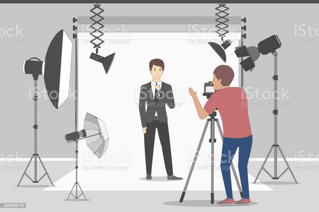 Male model in photo studio. векторная иллюстрация
