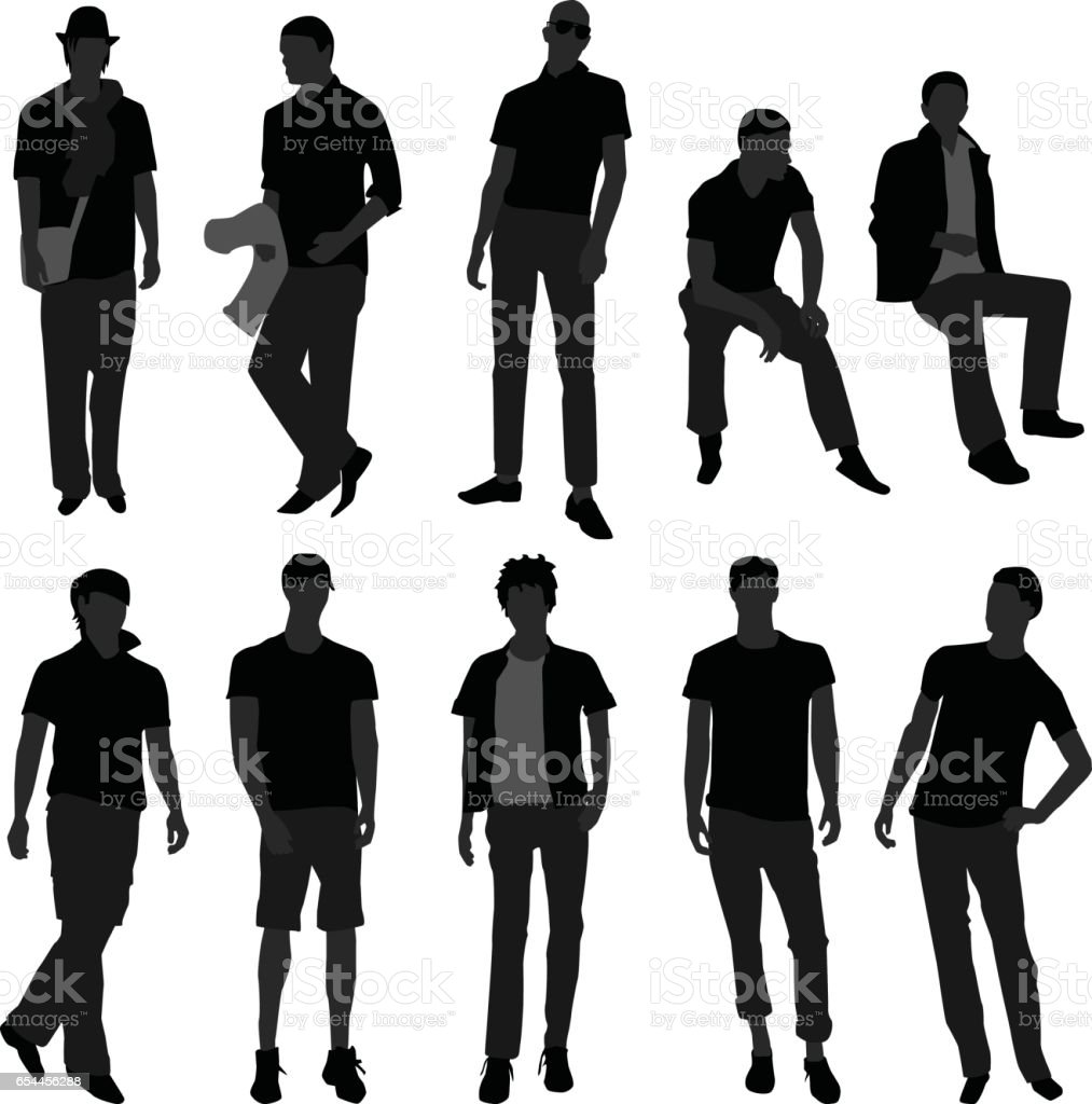 Male Model Posing for fashions in Silhouette Vector vector art illustration