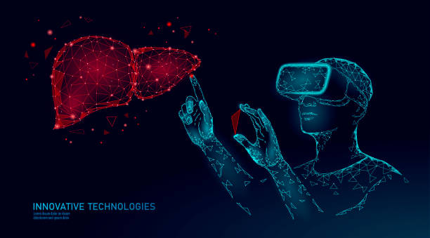 Male modern doctor operate human liver. Virtual reality assistance laser operation. 3D VR headset augmented reality glasses medicine online digital banner vector illustration Male modern doctor operate human liver. Virtual reality assistance laser operation. 3D VR headset augmented reality glasses medicine online digital banner vector illustration. bile stock illustrations