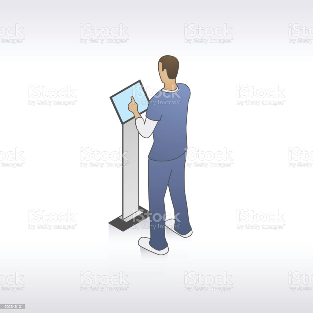 Male Nurse at Kiosk Illustration vector art illustration
