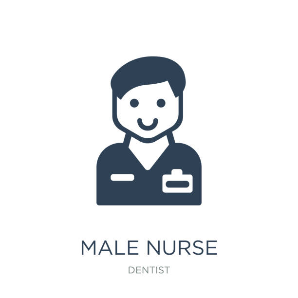male nurse icon vector on white background, male nurse trendy fi male nurse icon vector on white background, male nurse trendy filled icons from Dentist collection male nurse stock illustrations