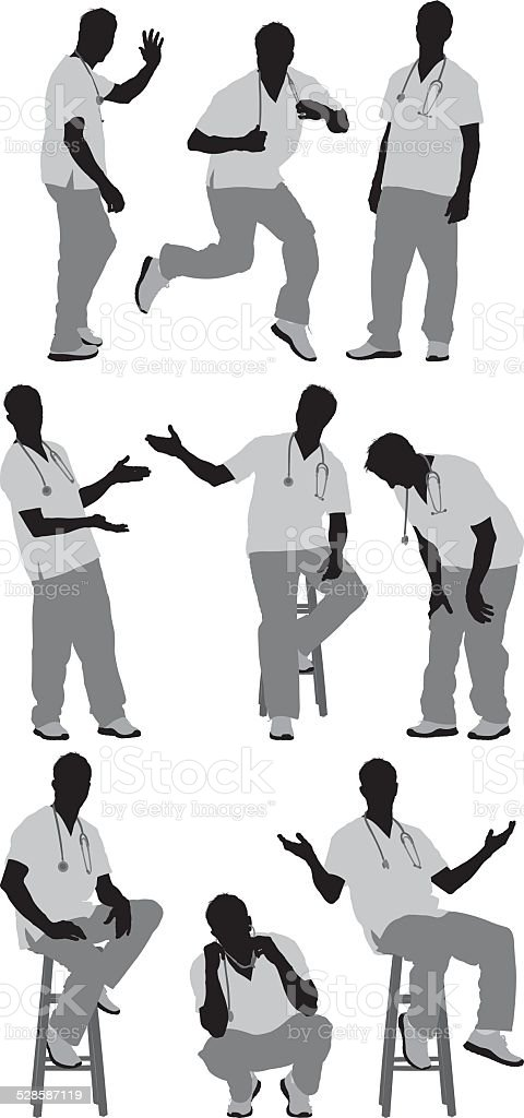 Male nurse in various actions vector art illustration