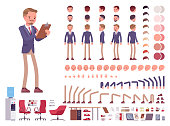 Male office secretary character creation set