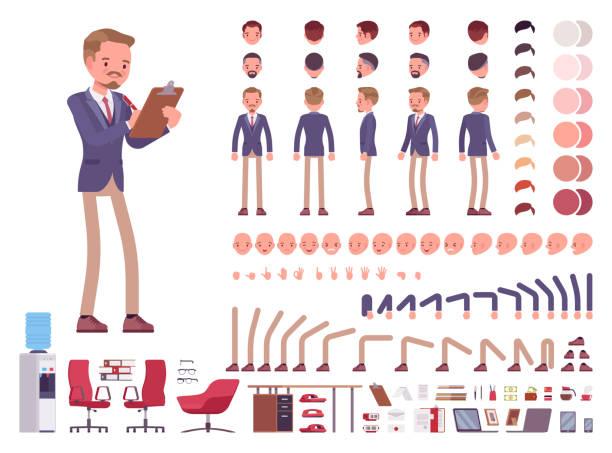 stockillustraties, clipart, cartoons en iconen met mannelijke kantoor secretaris tekenset creatie - schepping