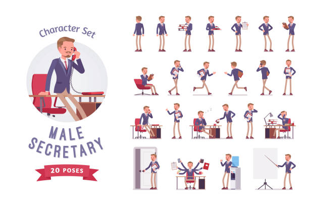 Male office secretary ready-to-use character set Male office secretary ready-to-use character set. Smart man assisting in paper work, managing business, helper busy in documents, doing multiple tasks. Full length, different views, gestures, emotions preparation illustrations stock illustrations