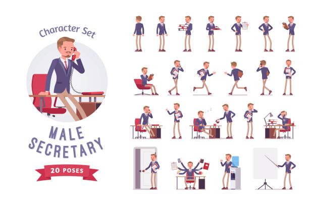 illustrazioni stock, clip art, cartoni animati e icone di tendenza di male office secretary ready-to-use character set - ritratto in ufficio