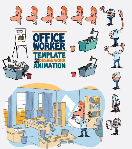bildbanksillustrationer, clip art samt tecknat material och ikoner med manliga office arbetstagare mall karaktär med dekoration och element för design och animation. karaktären är arg, ledsen, glad, tvivla...  vektorillustration till roliga seriefiguren. - graphs animation