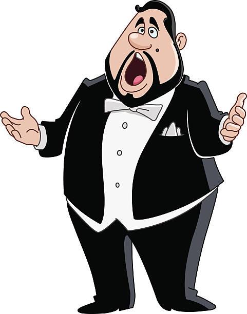 stockillustraties, clipart, cartoons en iconen met male opera singer - tenor