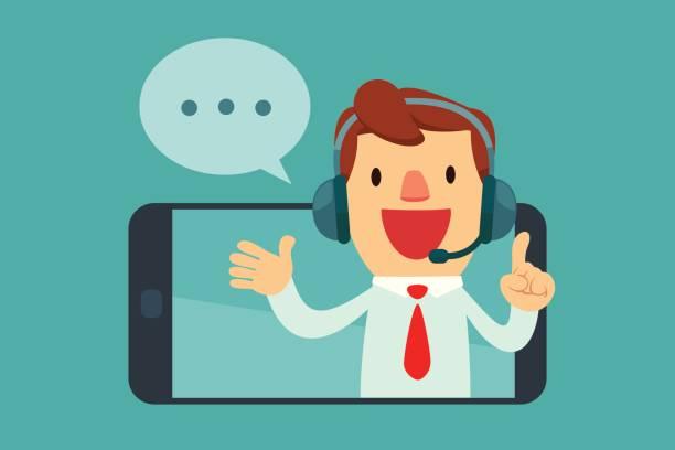 männliche Betreiber mit Kopfhörer sprechen vom Bildschirm des Smartphones – Vektorgrafik