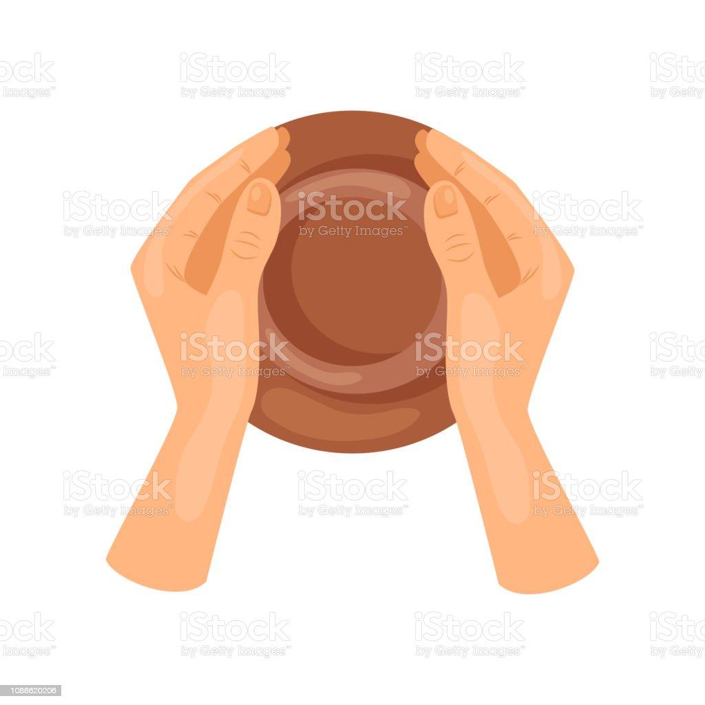 Hombres o mujeres las manos haciendo la jarra de cerámica, vista superior. Obra cerámica. Artes y artesanía. Hobby y ocio. Diseño vectorial plana - ilustración de arte vectorial