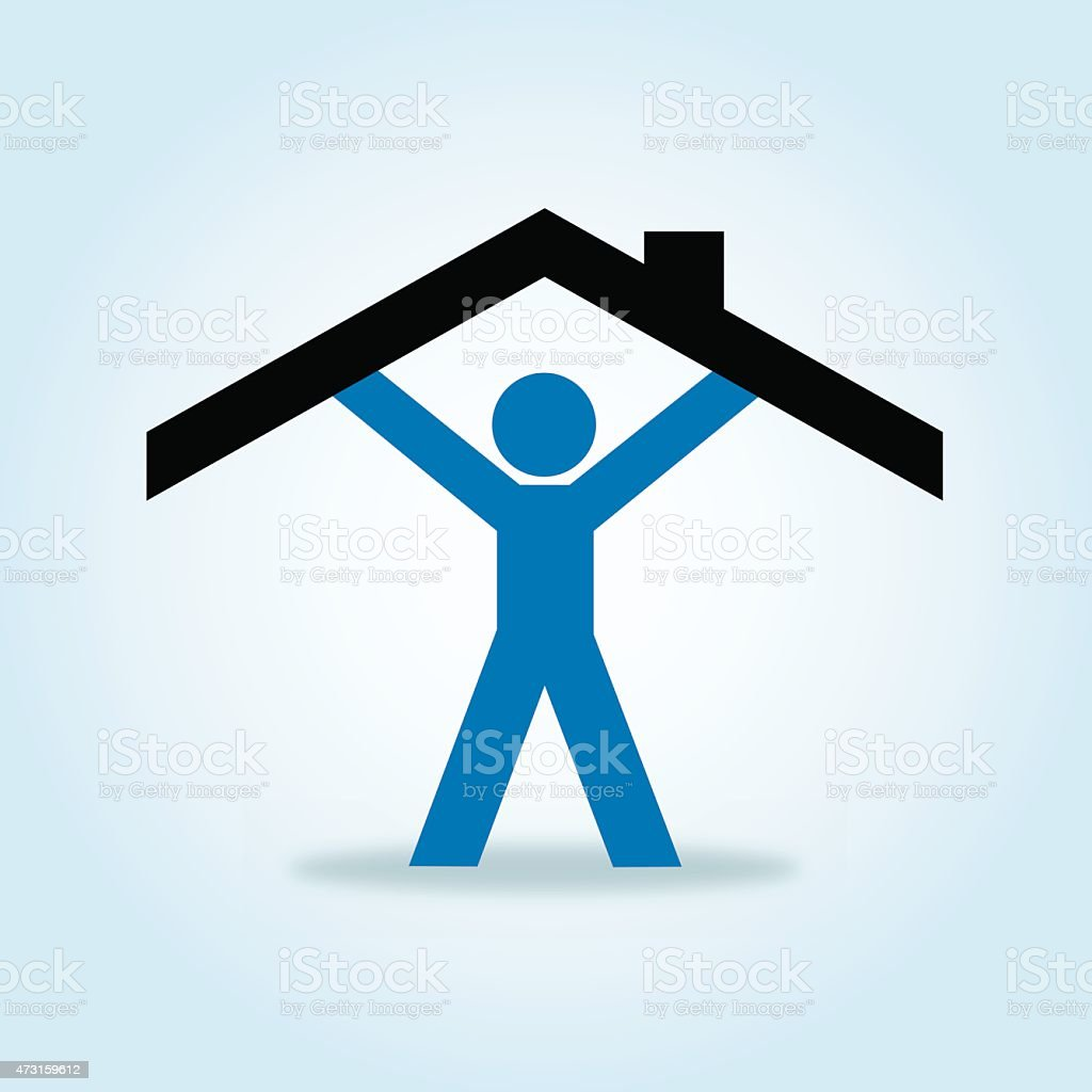 Male Paper Doll Holding Up Roof vector art illustration