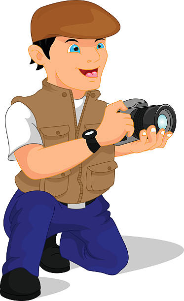 male photographer posing - old man portrait pic stock illustrations, clip art, cartoons, & icons