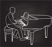 A man sitting and playing a baby grand piano