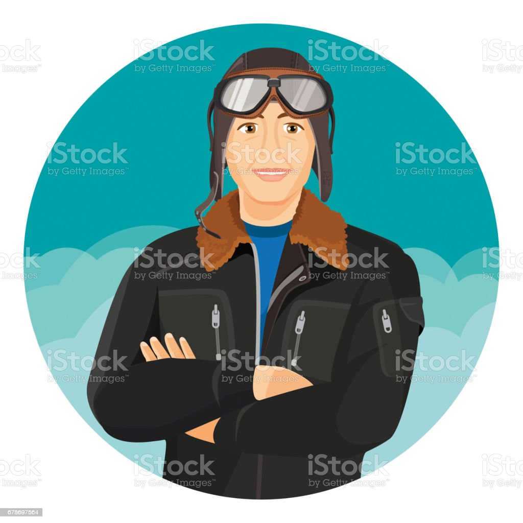male pilot in jacket and leather aviator hat with goggles stock