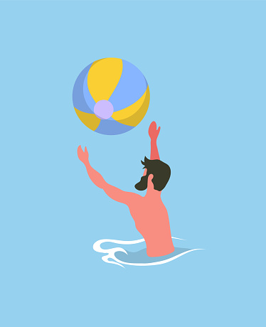 Male Playing Ball in Pool, Water Activity Vector