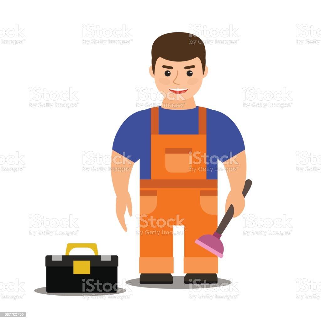 male plumber in overalls. vector illustration. flat. cartoon. vector art illustration
