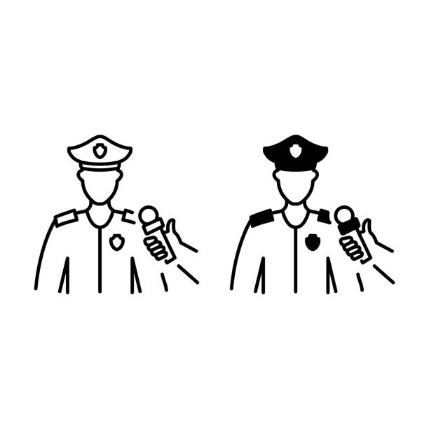 Male policeman interview outline and glyph icons Male policeman interview outline and glyph icons police interview stock illustrations