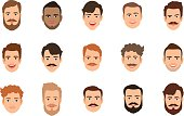 Human face set vector illustration. Male portrait or young man faces with various hairstyle