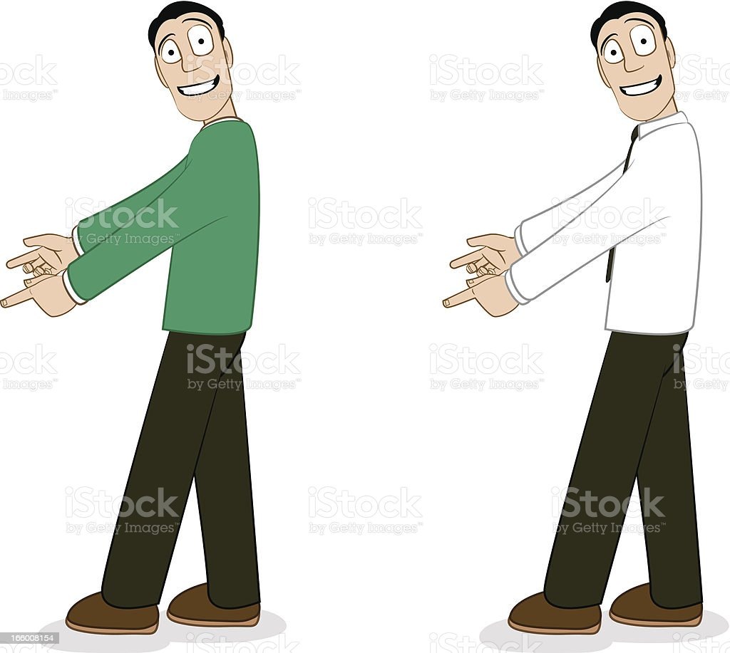 Male Pose Pointing vector art illustration