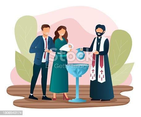 istock Male priest is baptising a newborn child 1306540174
