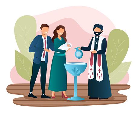 Male priest is baptising a newborn child