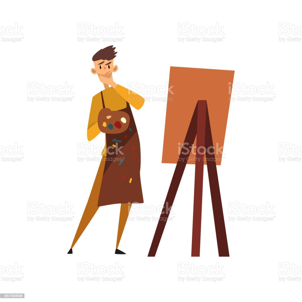 male professional artist character in apron drawing on an easel with