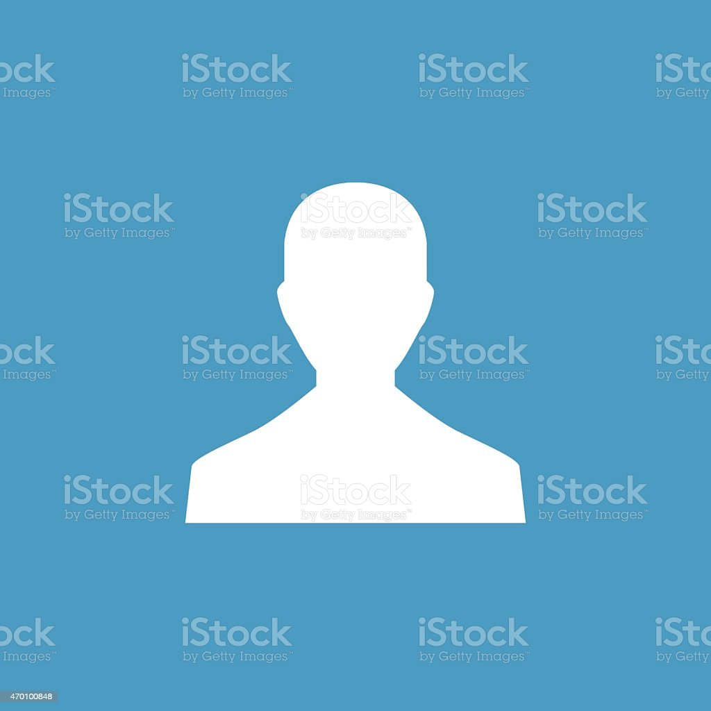 male profile icon, white on the blue background vector art illustration