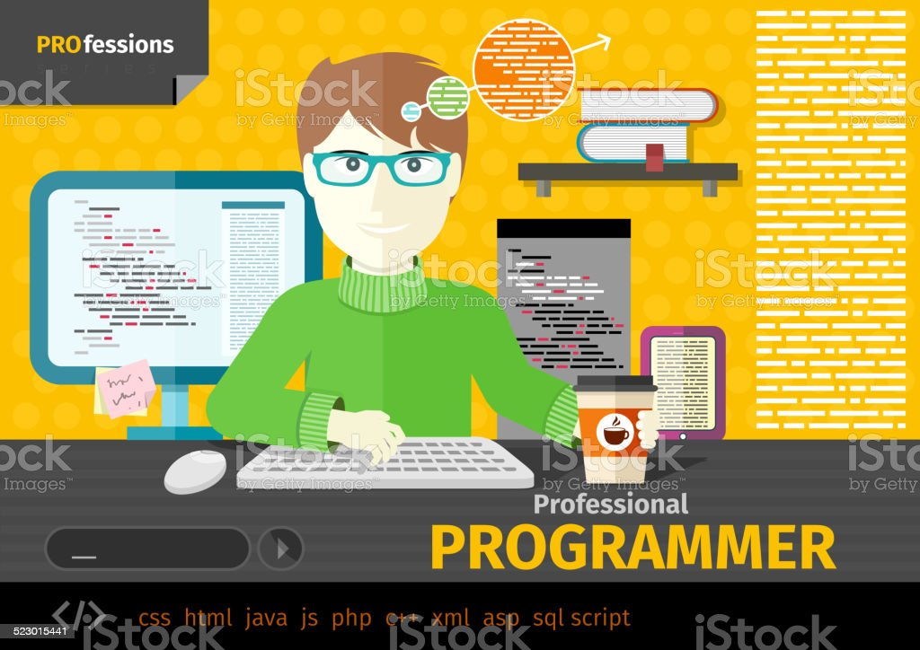 Male programmer with digital devices on workplace vector art illustration