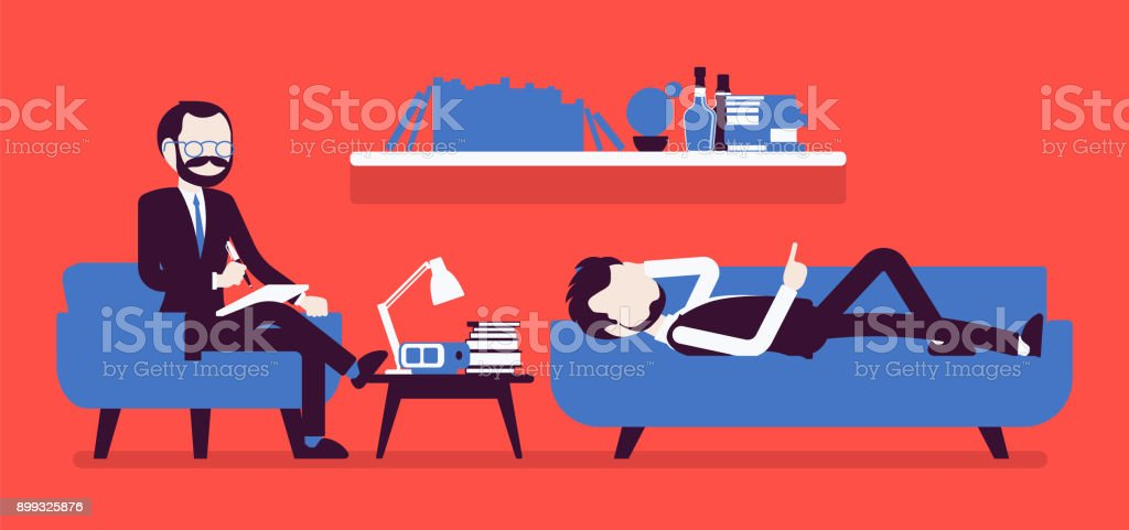 Male psychiatrist consulting vector art illustration
