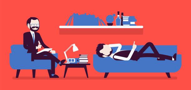ilustraciones, imágenes clip art, dibujos animados e iconos de stock de psiquiatra hombre consulting - profesional de salud mental