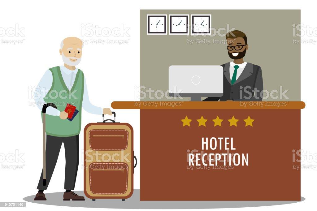male receptionist and Caucasian old man tourist - arte vettoriale royalty-free di Adulto