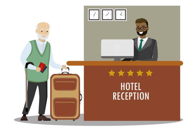 illustrazioni stock, clip art, cartoni animati e icone di tendenza di male receptionist and caucasian old man tourist - hotel checkin