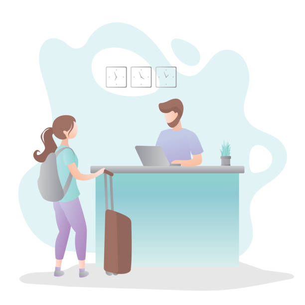 male receptionist on reception desk in hotel and female tourist with suitcase and backpack - hotel reception stock illustrations