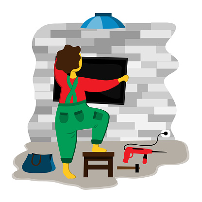 A male repairman hangs up a television using tools. Illustration in flat style
