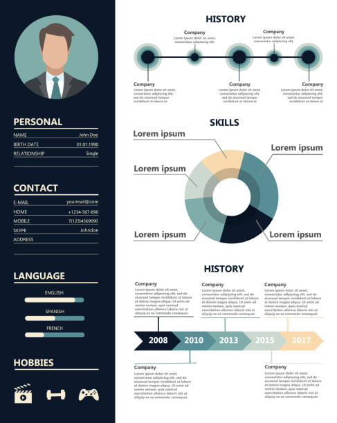 male resume sample. - resume templates stock illustrations