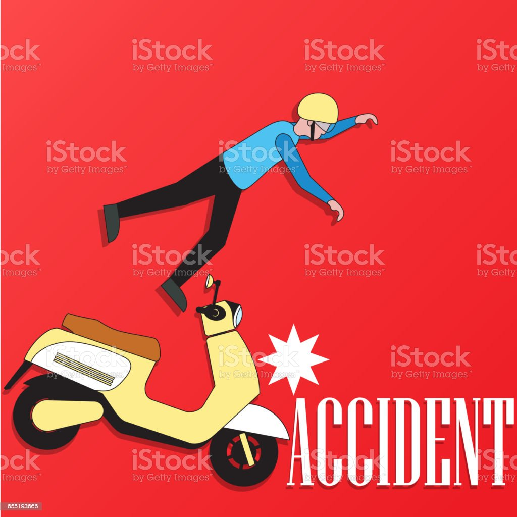 Male rider accident on the scooter vector art illustration