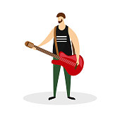 Male Rock Musician Character, Guitarist, Virtuoso Music Player Isolated on White Background. Full Height Young Bearded Man Hold Red Electric Guitar in Hands. Cartoon Flat Vector Illustration, Clip Art