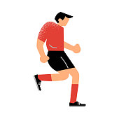 Male rugby player runs in a red t-shirt. Vector illustration in flat cartoon style.