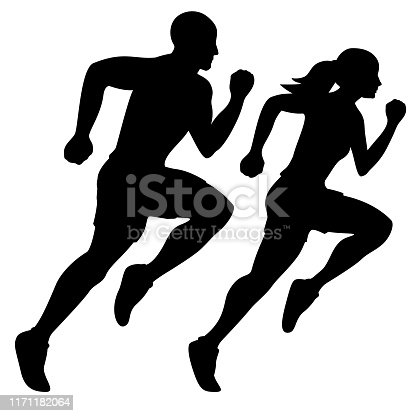 Sharp, simple, and professional looking illustration of a man and woman running, black silhouette, isolated vector graphic for easy editing.