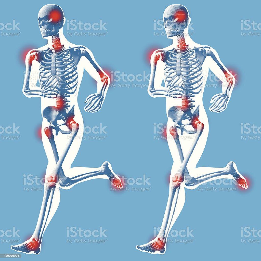 Male running - 3 quarter front view vector art illustration