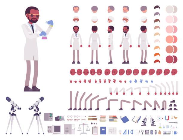 ilustrações de stock, clip art, desenhos animados e ícones de male scientist character creation set - scientist