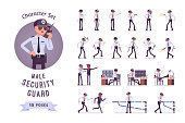 Male security guard ready-to-use character set