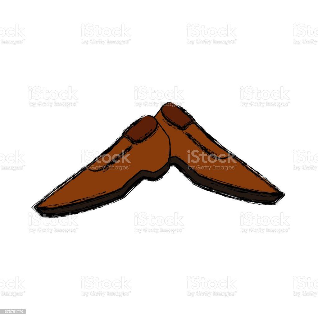 Male shoes footwear vector art illustration