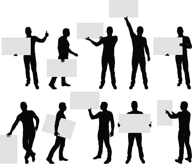 ilustrações de stock, clip art, desenhos animados e ícones de silhuetas de homens segurando placa em branco - segurar
