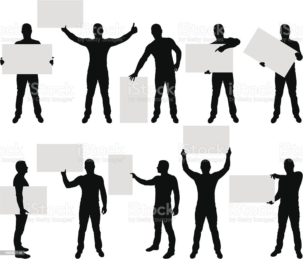 Male silhouettes holding blank sign vector art illustration
