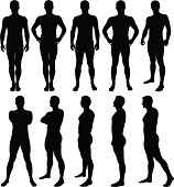 Vector illustration of male silhouettes posing.